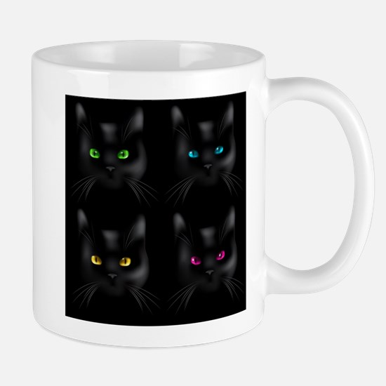 Black Cat Pattern Mugs