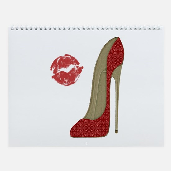 Red Lace Stiletto and Kiss Wall Calendar