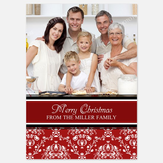 Red Damask Christmas Photo Invitations