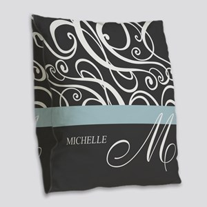 Elegant Grey White Swirls Monogram Burlap Throw Pi