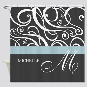 Elegant Grey White Swirls Monogram Shower Curtain
