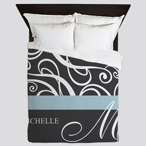 Elegant Grey White Swirls Monogram Queen Duvet