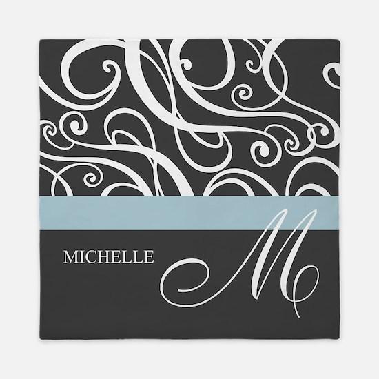 Elegant Grey White Swirls Monogram Queen Duvet