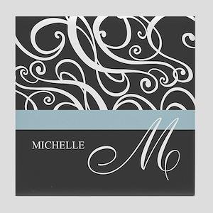Elegant Grey White Swirls Monogram Tile Coaster