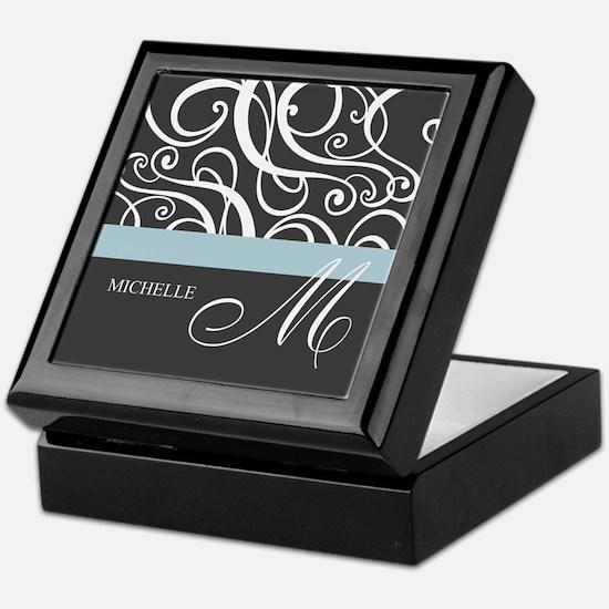 Elegant Grey White Swirls Monogram Keepsake Box