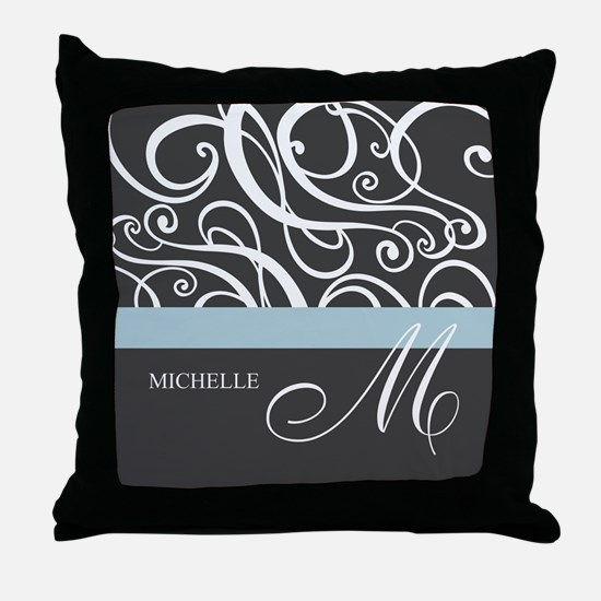 Elegant Grey White Swirls Monogram Throw Pillow