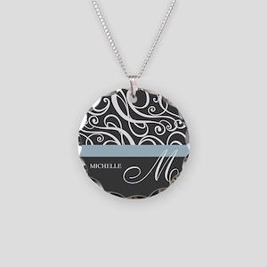 Elegant Grey White Swirls Monogram Necklace Circle