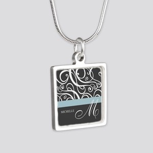 Elegant Grey White Swirls Monogram Silver Square N