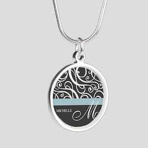 Elegant Grey White Swirls Monogram Silver Round Ne