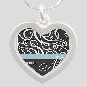 Elegant Grey White Swirls Monogram Silver Heart Ne