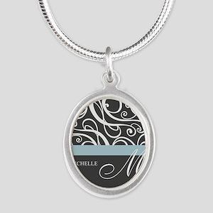 Elegant Grey White Swirls Monogram Silver Oval Nec