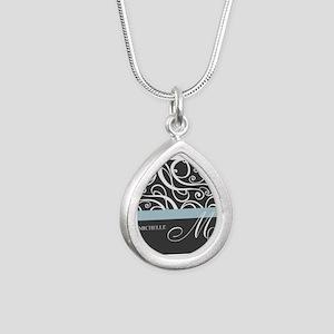 Elegant Grey White Swirls Monogram Silver Teardrop