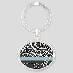 Elegant Grey White Swirls Monogram Oval Keychain