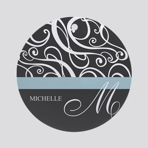 Elegant Grey White Swirls Monogram Ornament (Round