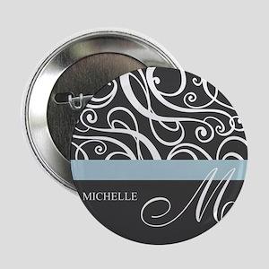"Elegant Grey White Swirls Monogram 2.25"" Button"
