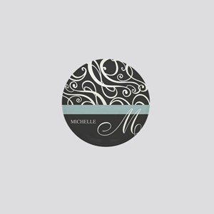 Elegant Grey White Swirls Monogram Mini Button