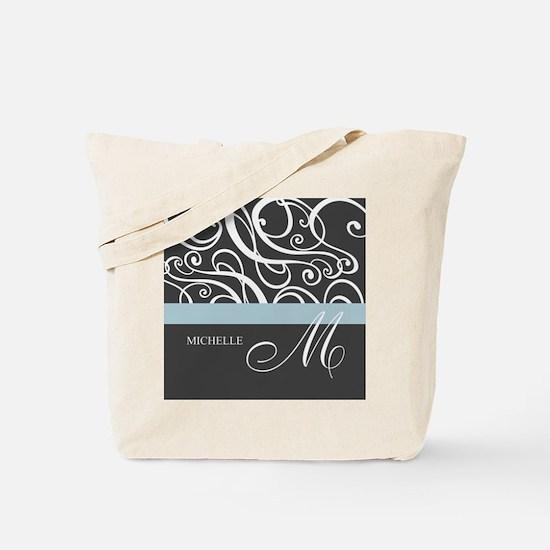 Elegant Grey White Swirls Monogram Tote Bag
