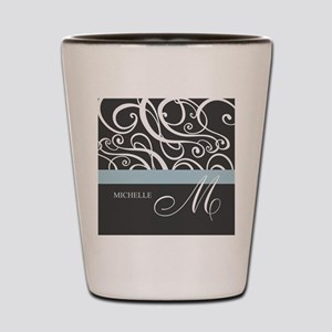 Elegant Grey White Swirls Monogram Shot Glass