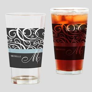 Elegant Grey White Swirls Monogram Drinking Glass