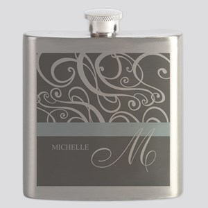 Elegant Grey White Swirls Monogram Flask
