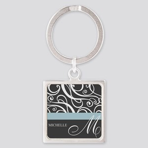 Elegant Grey White Swirls Monogram Square Keychain