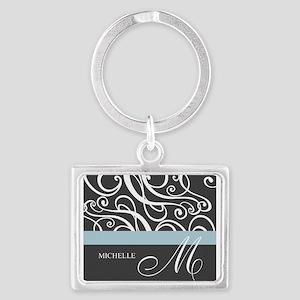 Elegant Grey White Swirls Monogram Landscape Keych