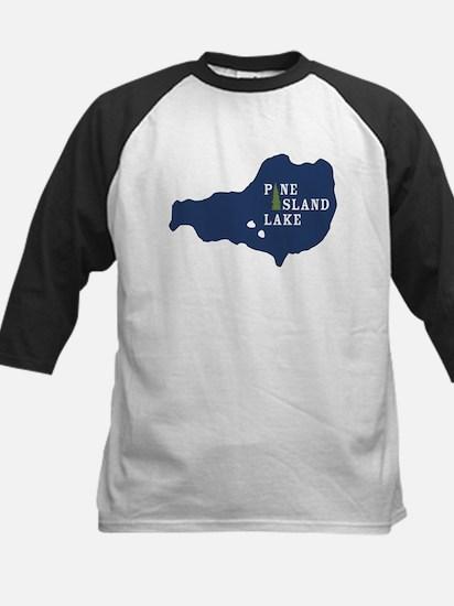 Pine Island Lake logo with island Baseball Jersey