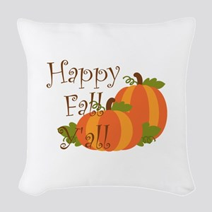 Happy Fall Y'all Woven Throw Pillow