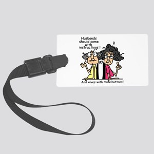 Instructions and Mute Buttons Large Luggage Tag