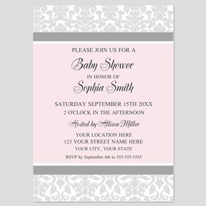 Pink Grey Damask Baby Shower Invites 5x7 Flat Card