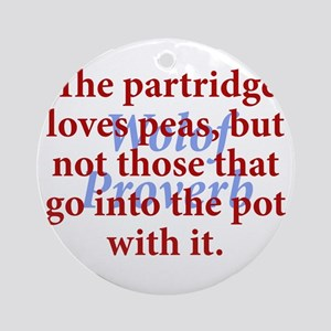 The Partridge Loves Peas Round Ornament