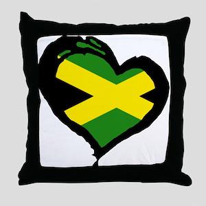 Jamaica One Heart Throw Pillow