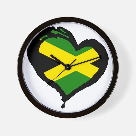 Jamaica One Heart Wall Clock
