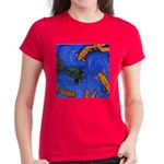 "Women's Dark T-Shirt ""Swimming Goldfish Design"""