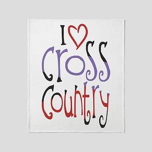 I love (heart) cross country Throw Blanket