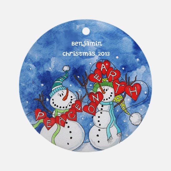 Personalized Peace on Earth Snowmen Ornament
