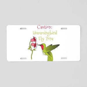 Caution: Hummingbird Fly Zone Aluminum License Pla