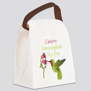 Caution: Hummingbird Fly Zone Canvas Lunch Bag