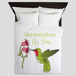 Caution: Hummingbird Fly Zone Queen Duvet