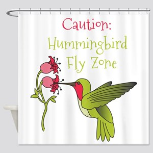 Caution: Hummingbird Fly Zone Shower Curtain
