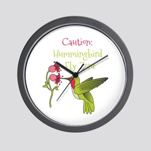 Caution: Hummingbird Fly Zone Wall Clock