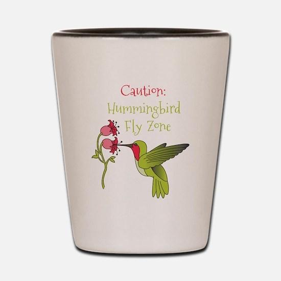 Caution: Hummingbird Fly Zone Shot Glass
