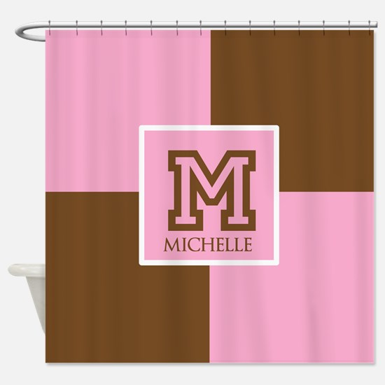 Brown and Pink Blocks Monogram Shower Curtain