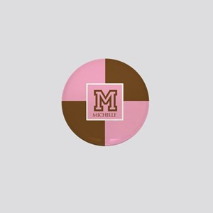 Brown and Pink Blocks Monogram Mini Button