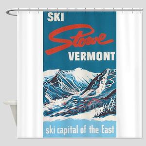 Ski Stowe Vermont Vintage Poster Shower Curtain