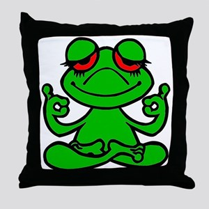 Frog Lotus Throw Pillow