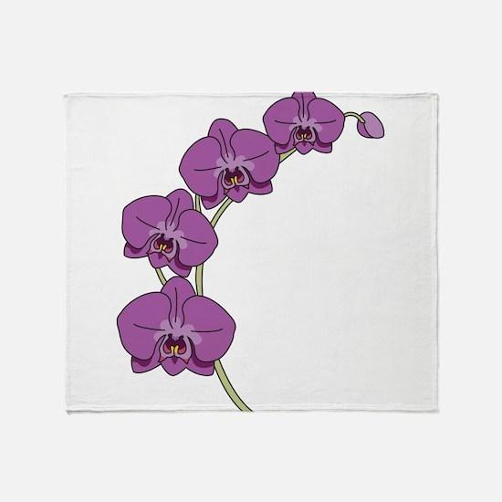 Purple Orchid Throw Blanket