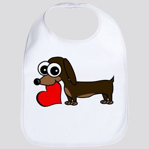 Cute Dachshund with Heart Bib