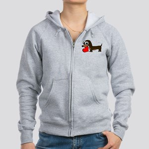 Cute Dachshund with Heart Zip Hoodie