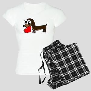 Cute Dachshund with Heart Pajamas